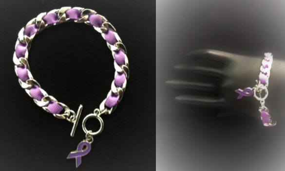 f8407e38e6 NEW ITEM! Chain friendship bracelet with hand braided purple ribbon and  awareness charm.